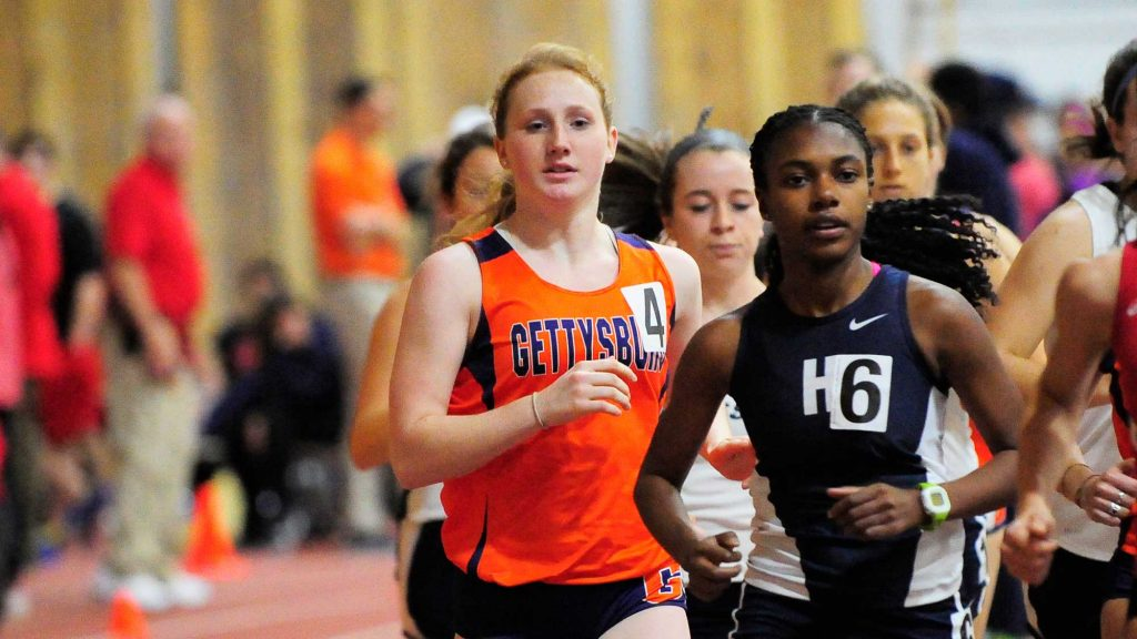 Junior Sarah Rinehart competed in three separate running events Saturday (Photo Courtesy of David Sinclair).