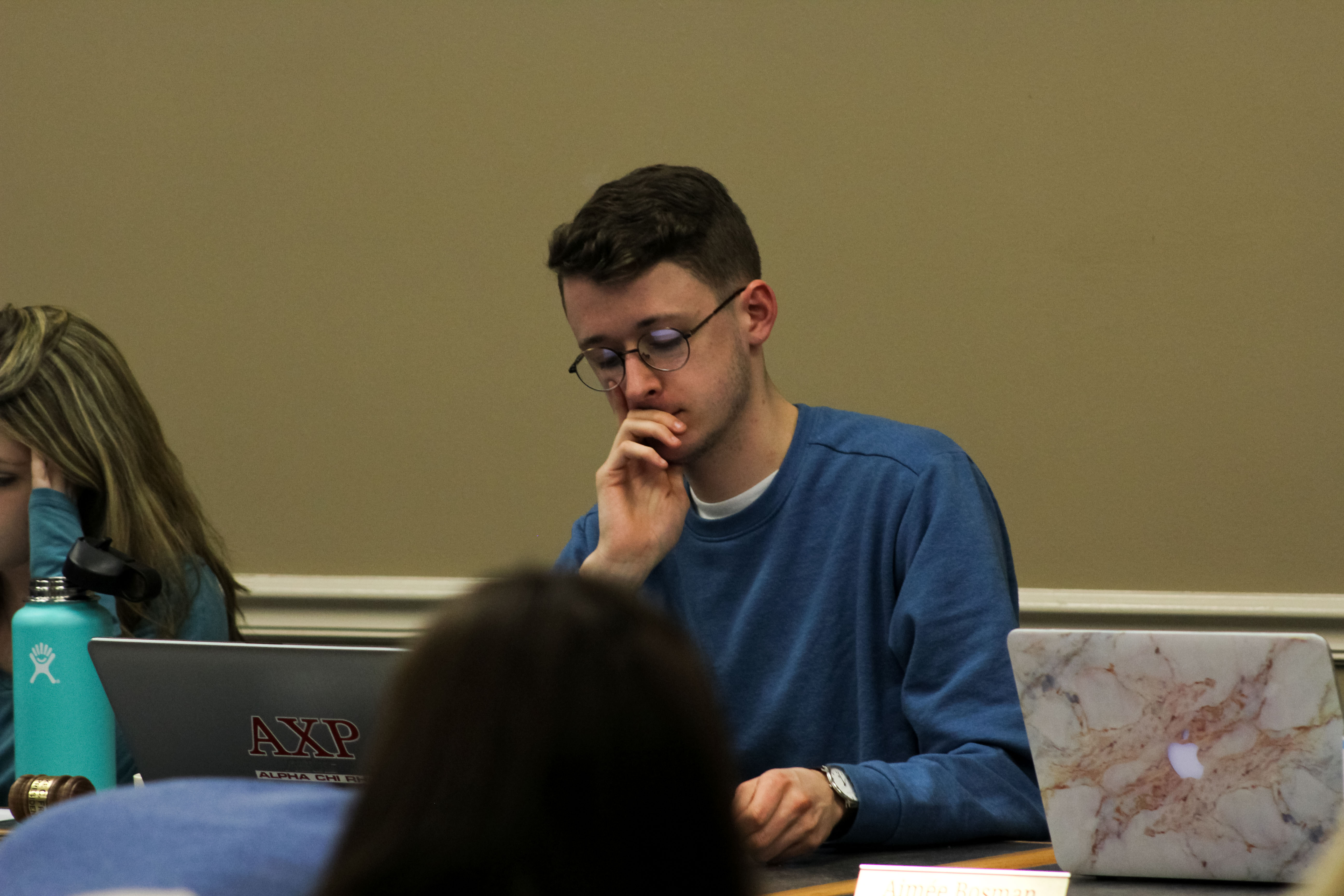 President Luke Frigon at the Student Senate meeting on February 5, 2018 (Photo Claire Bickers / The Gettysburgian)