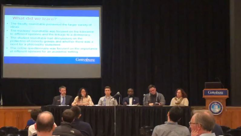 Members of the Freedom of Expression Workgroup present at Thursday's town hall (Screenshot captured from video by Jamie Welch / The Gettysburgian)