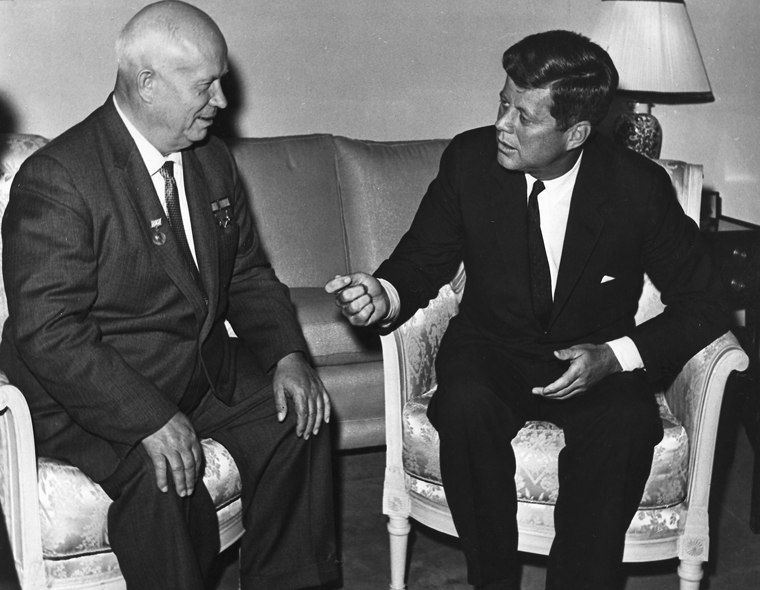 President Kennedy meets with Chairman Khrushchev at the U. S. Embassy residence, Vienna. (File Photo via U.S. State Department)