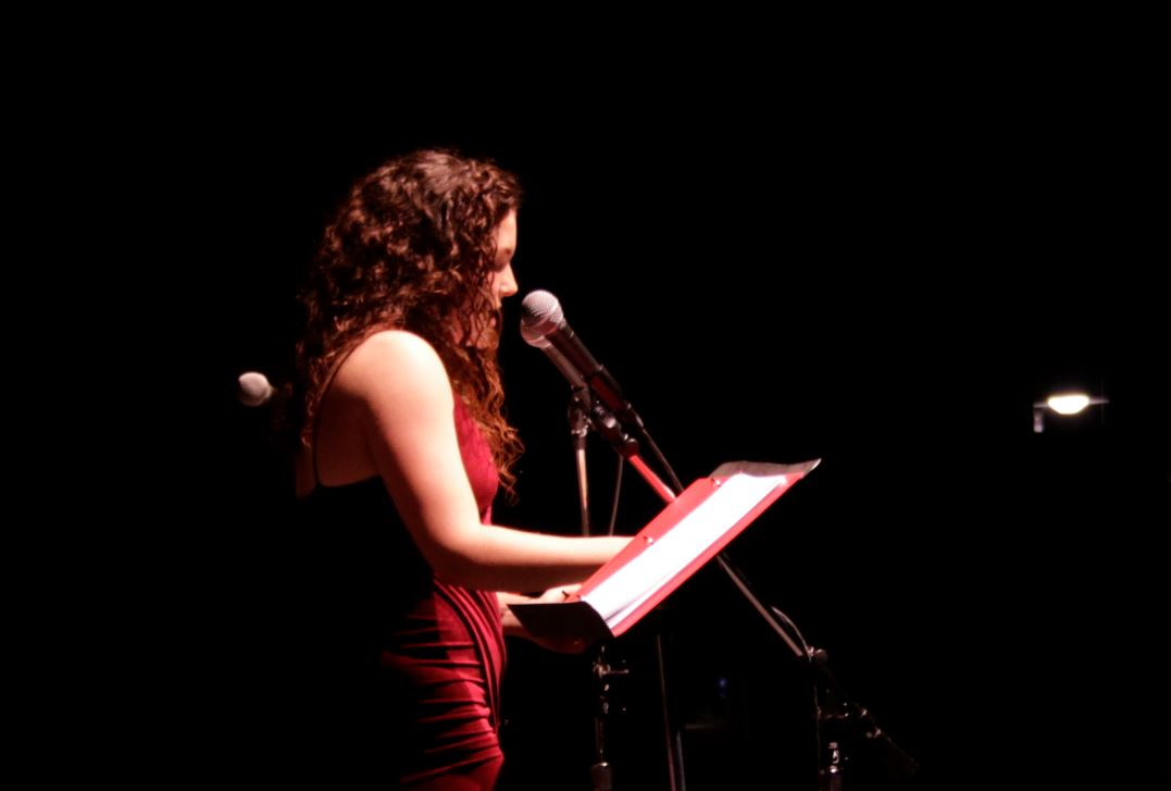 Laurel Downie '18 performs in the Vagina Monologues (Photo courtesy of the Women's Center)