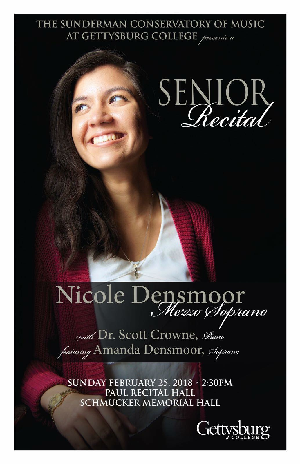 Recital poster for Nicole Densmoor's senior recital in the Sunderman Conservatory of Music (Photo provided)