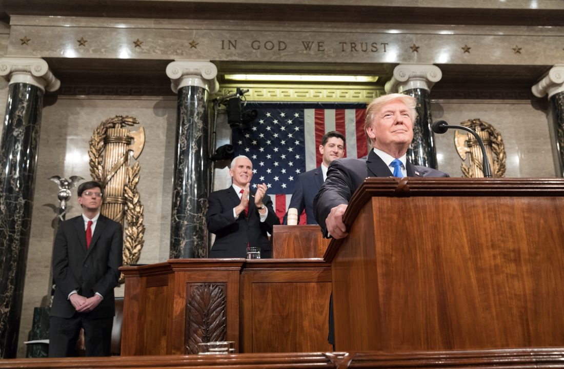 President Donald Trump delivering the 2018 State of the Union (Photo via Wikimedia Commons)