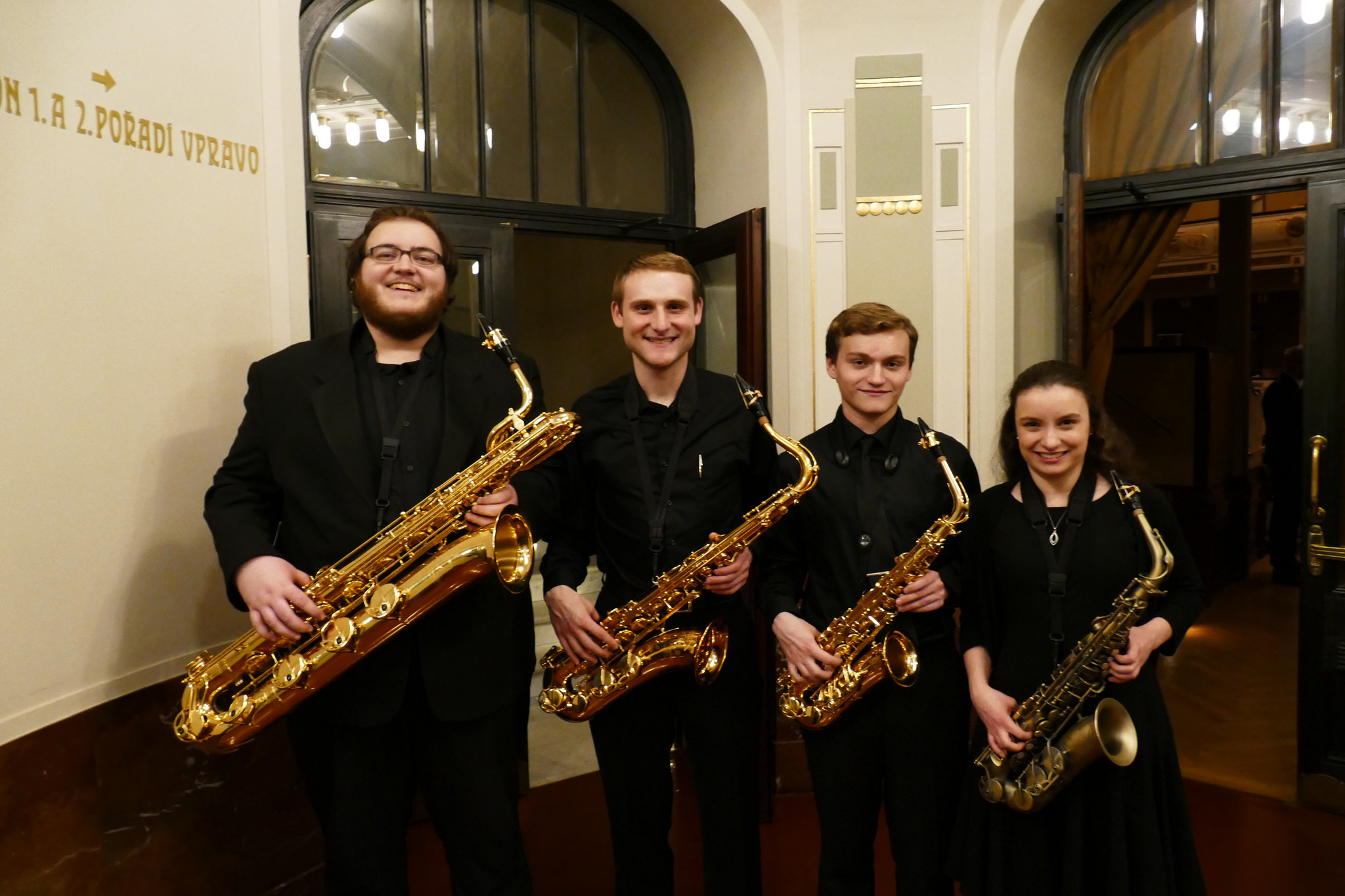 Gettysburg College Wind Symphony Saxophone Section, From L: Will Morris, Doug Kowalewski, Brian Ruether, Jenna Pavis (Photo courtesy of Sunderman Conservatory of Music)