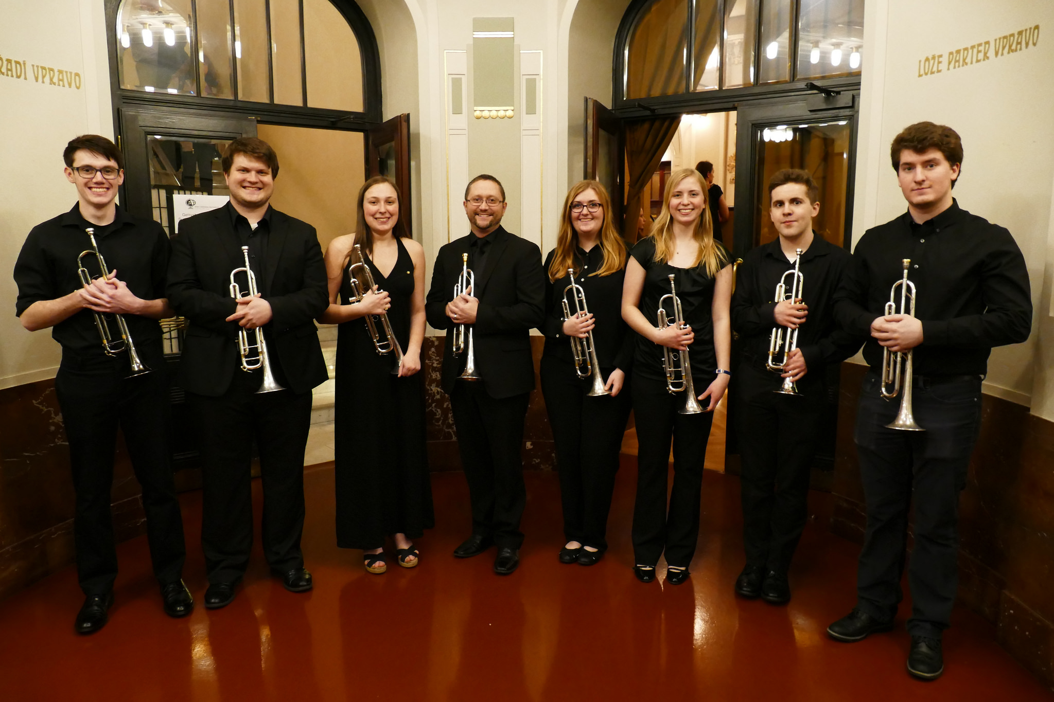 Members of the Gettysburg College Trumpet Studio, from L: Tanner Williams '21, Patrick Peters '20, Melanie Greenberg '20, Dr. Steven Marx, Bethany Frankel '20, Sofia Mouritsen '20, Andrew Mahoney '17, and Tom Crafa '20 (Photo courtesy of Sunderman Conservatory of Music)