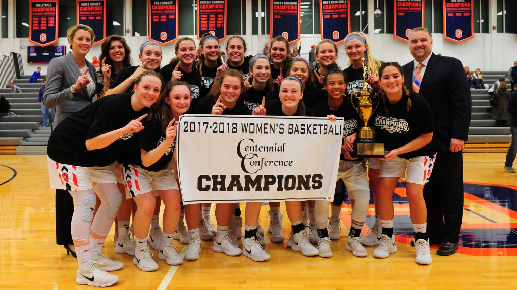 The Gettysburg women's basketball team won the Centennial Conference Championships for the first time since 2013 (Photo courtesy of Gettysburg College Athletics).