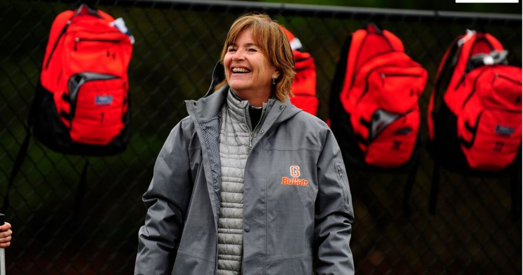 Carol Cantele, Head Coach of the Women's Lacrosse team at Gettysburg (photo courtesy of Gettysburg College Athletics)