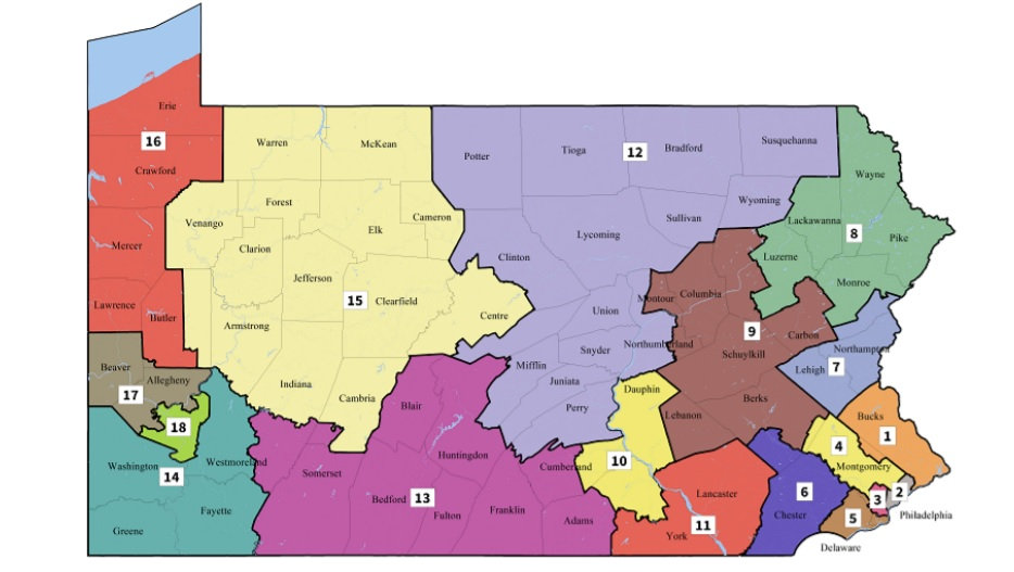 The new map of congressional districts imposed by the Pennsylvania Supreme Court last month