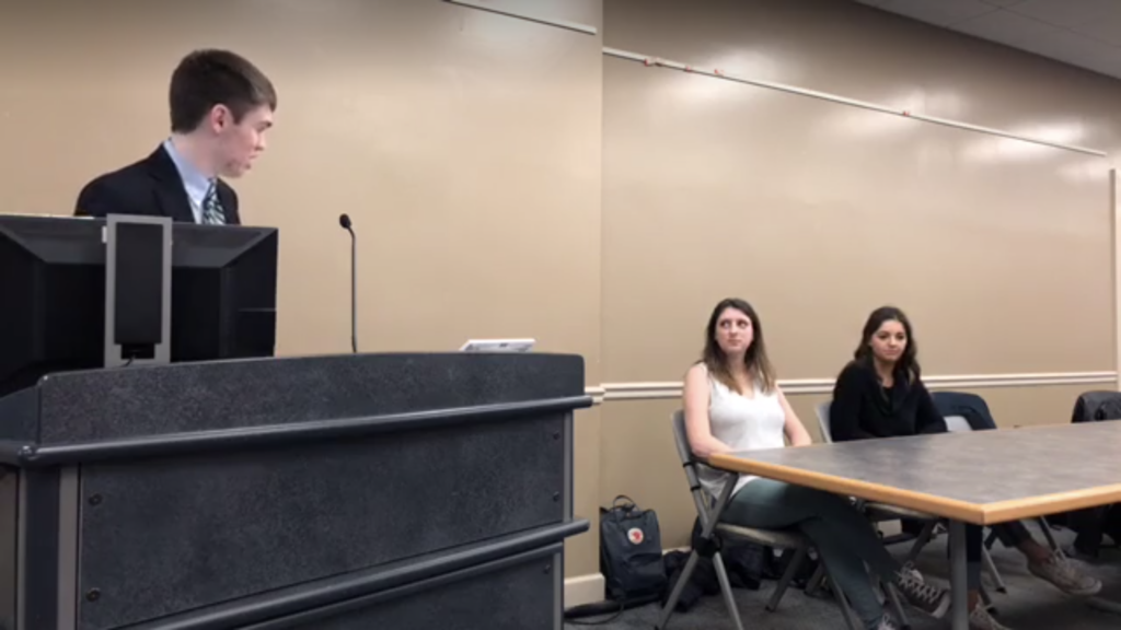 Presidential Candidates Haley Gluhanich '19 and Anna Burns '19 discussed a wide range of issues at the forum held during Monday's Student Senate meeting (Screengrab from live stream by Jamie Welch/The Gettysburgian)