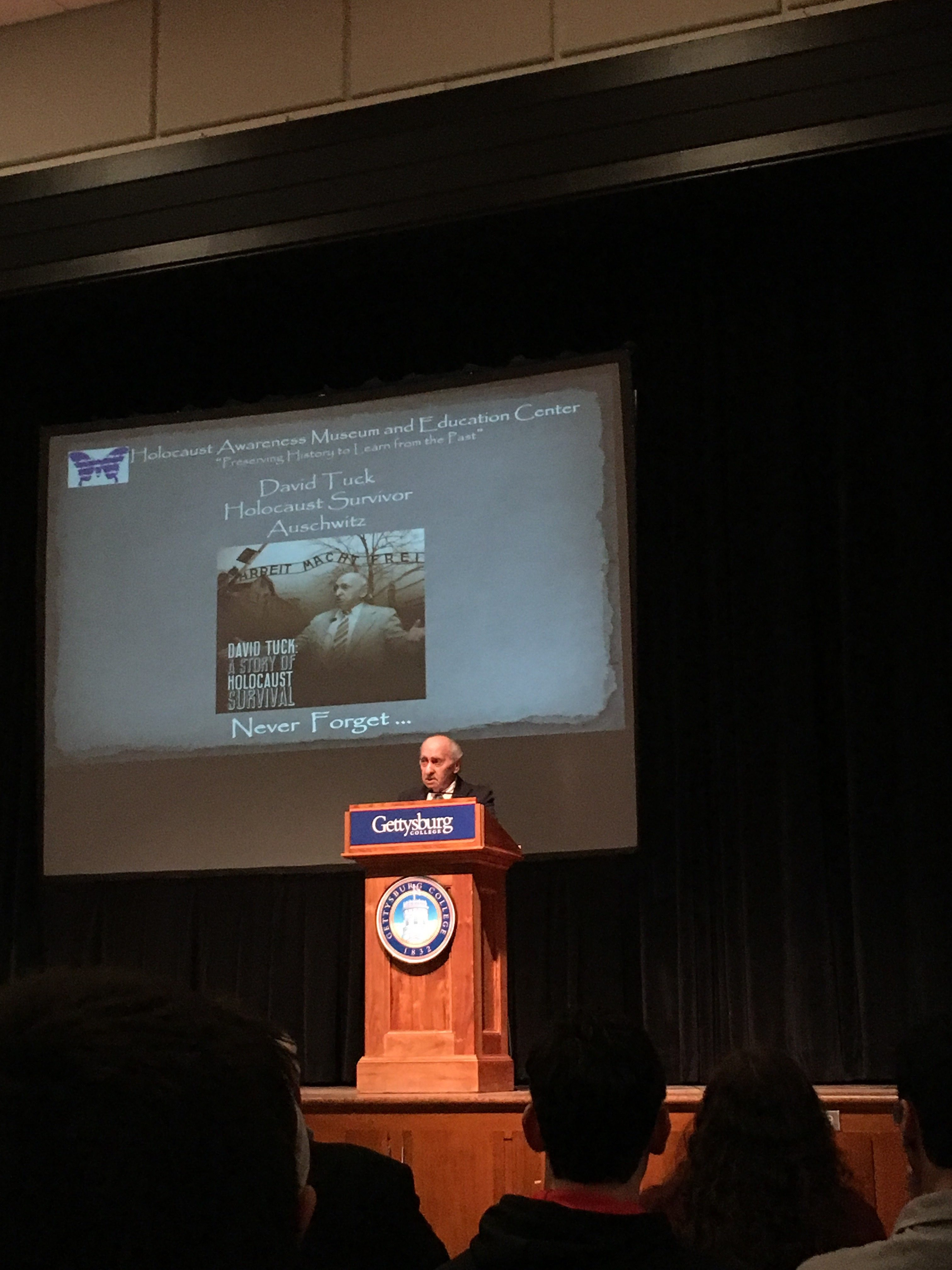 Holocaust survivor David Tuck speaks at Gettysburg College (Photo Sarah Kirkpatrick/The Gettysburgian)