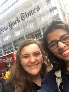 Neiman and Mangala at the New York Times Student Editor Workshop in 2018