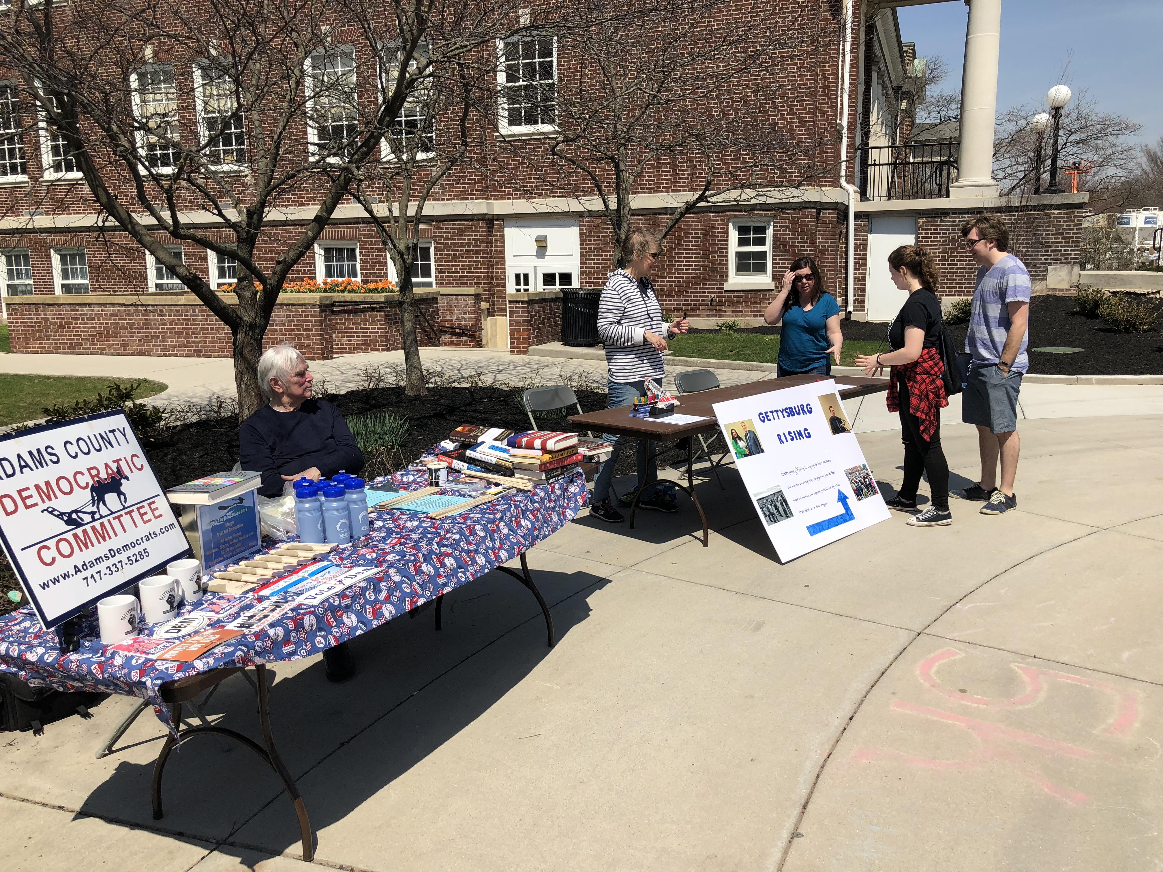 The Adams County Democratic Committee and other local and campus organizations were tabling outside prior to and during the event (Photo Jamie Welch/The Gettysburgian)