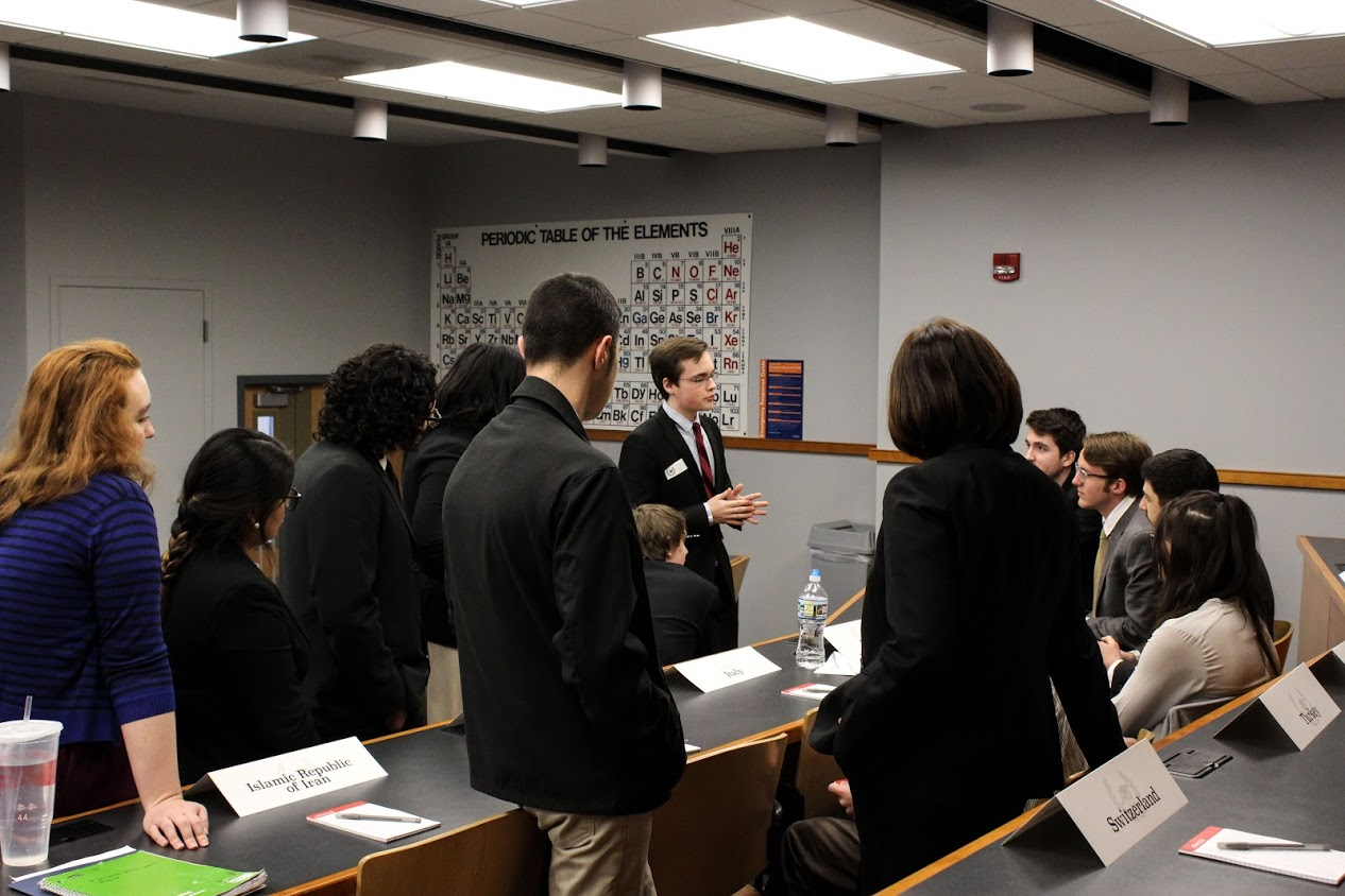Delegates deliberate during Model UN conference (Photo Claire Bickers/The Gettysburgian)