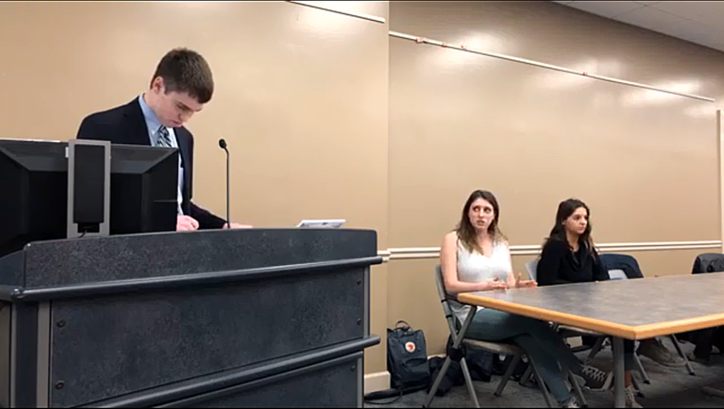 Senate President-Elect Haley Gluhanich makes a point during the candidate forum (Screengrab via Gettysburgian livestream)