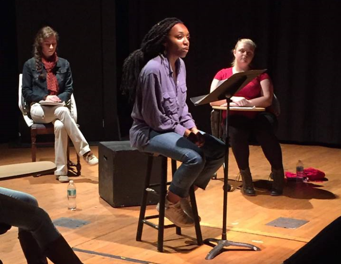 """Jordan Knox '21 (center), Thea Toocheck '21 (left), and Lauren Heyer (right) perform """"The Dreamers' Monologues"""" at Indie Fest 2018 (Photo Gauri Mangala/The Gettysburgian)"""