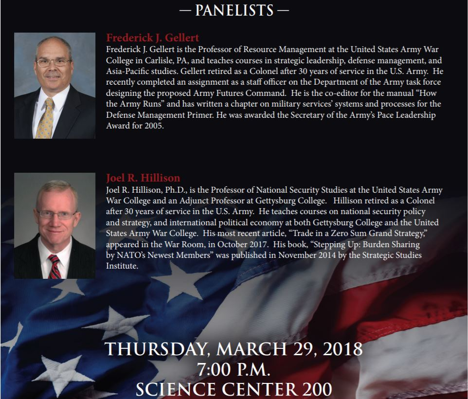 Event poster for panel led by Professors Frederick Gellert and Joel Hillson (Photo courtesy of Gettysburg College International Affairs Program)