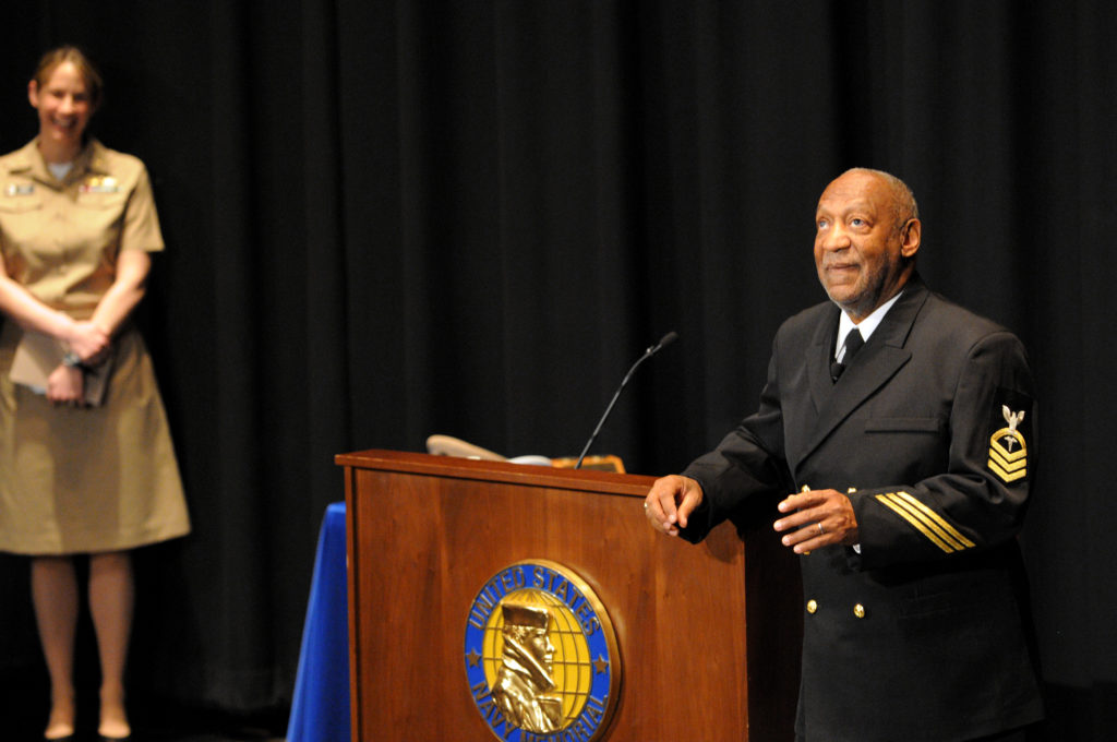 Honorary Chief Hospital Corpsman Bill Cosby delivers remarks during his pinning ceremony at the U.S. Navy Memorial in Washington, D.C. (U.S. Navy photo by Mass Communication Specialist 2nd Class Jay M. Chu/Released)