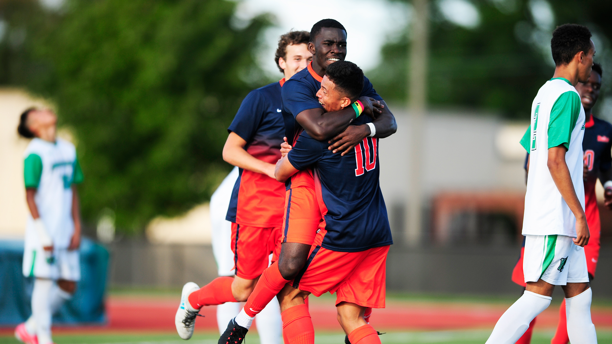 Members of the 2017 Gettysburg Men's Soccer team celebrate (Photo courtesy of Gettysburg College Athletics)