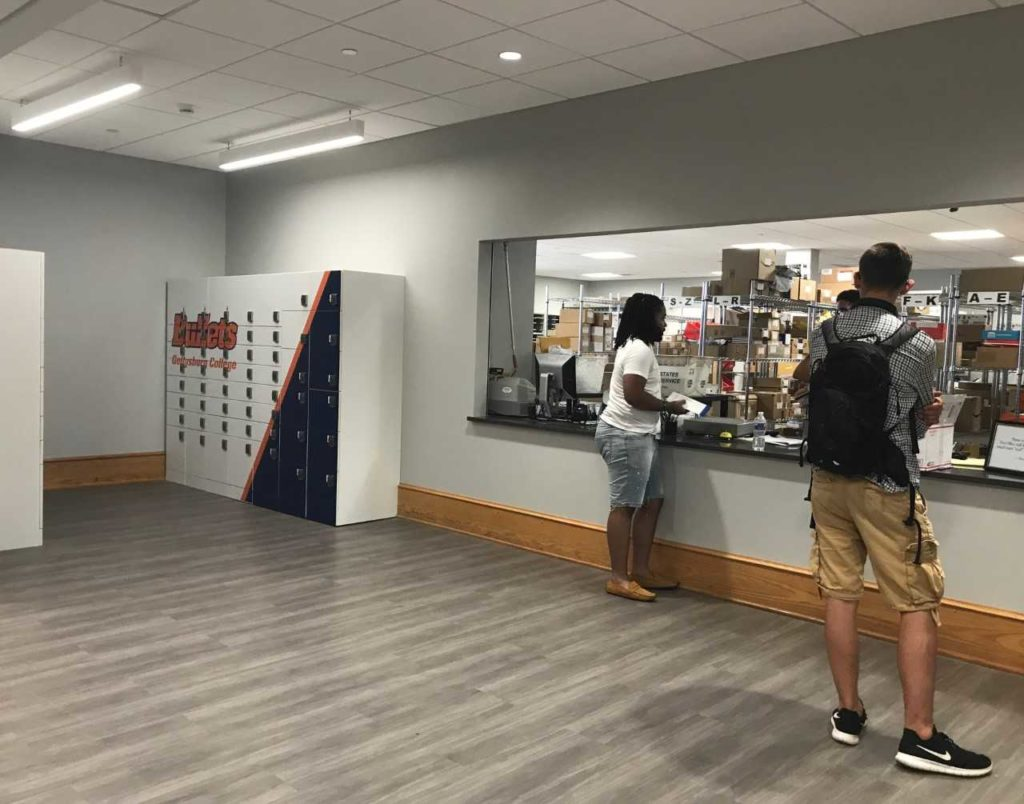 New lockers and a wider mailroom window replace the campus mailboxes area this year (Photo by Maddie Neiman, The Gettysburgian)