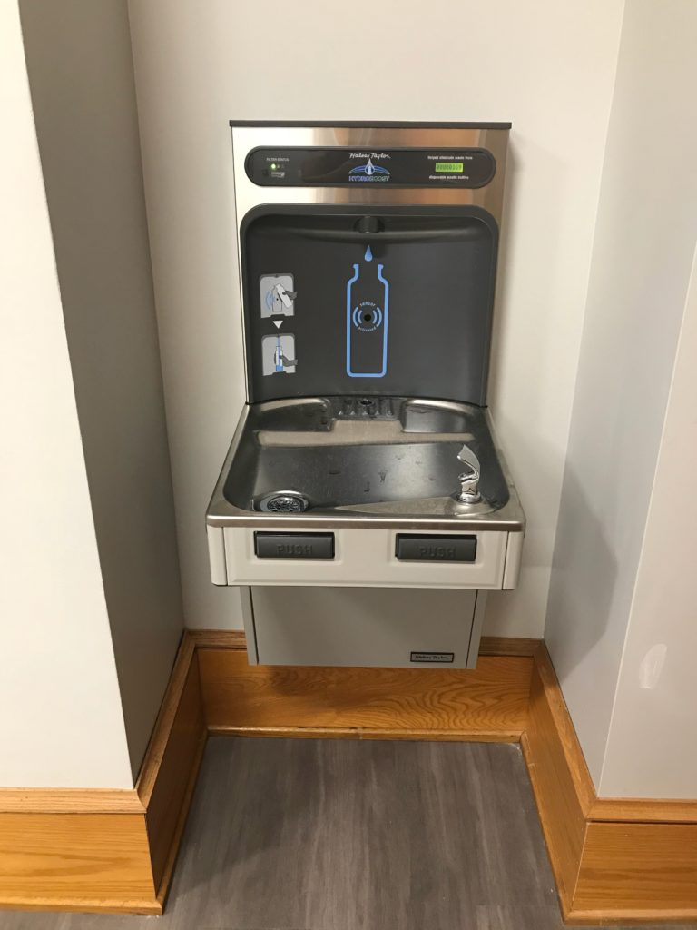 More reusable water bottle refill stations appear around campus this year, as part of the sustainability interns' efforts to make campus more environmentally friendly (Photo by Maddie Neiman, The Gettysburgian)