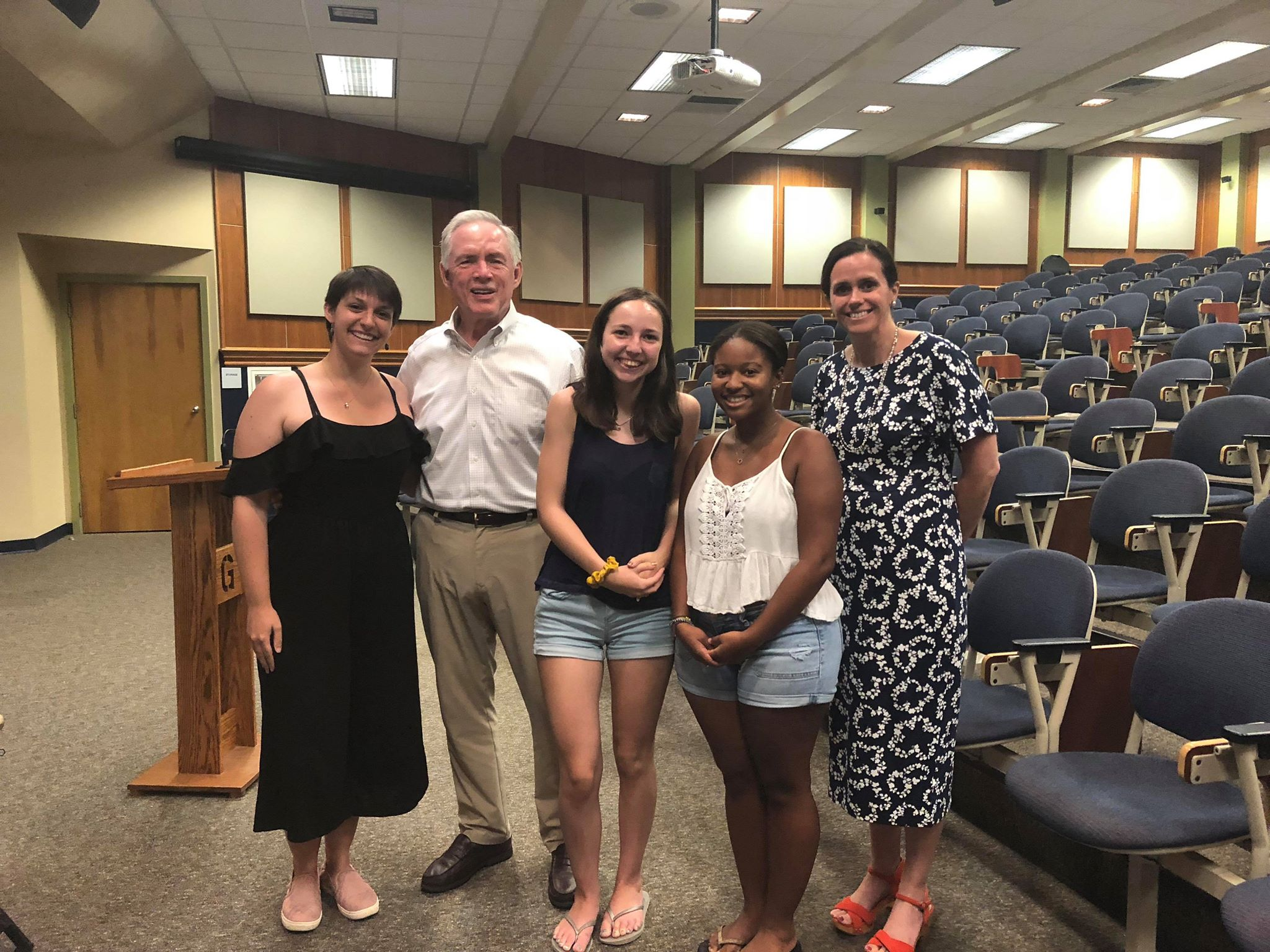 The President Search Committee's final open forum attendees from left to right: Sarah Tokar '19, Charlie Scott '77, Molly O'Gara '22, Maliyah Peacock '22, and Jennifer Lucas (Photo Kaley Michael/The Getysburgian)