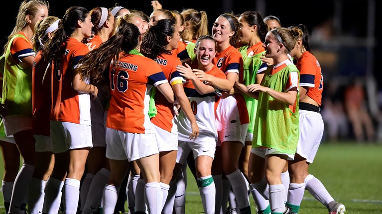The Bullets celebrate their 8-1 thrashing at Bryn Mawr (Photo courtesy of David Sinclai, Gettysburg College Athletics)