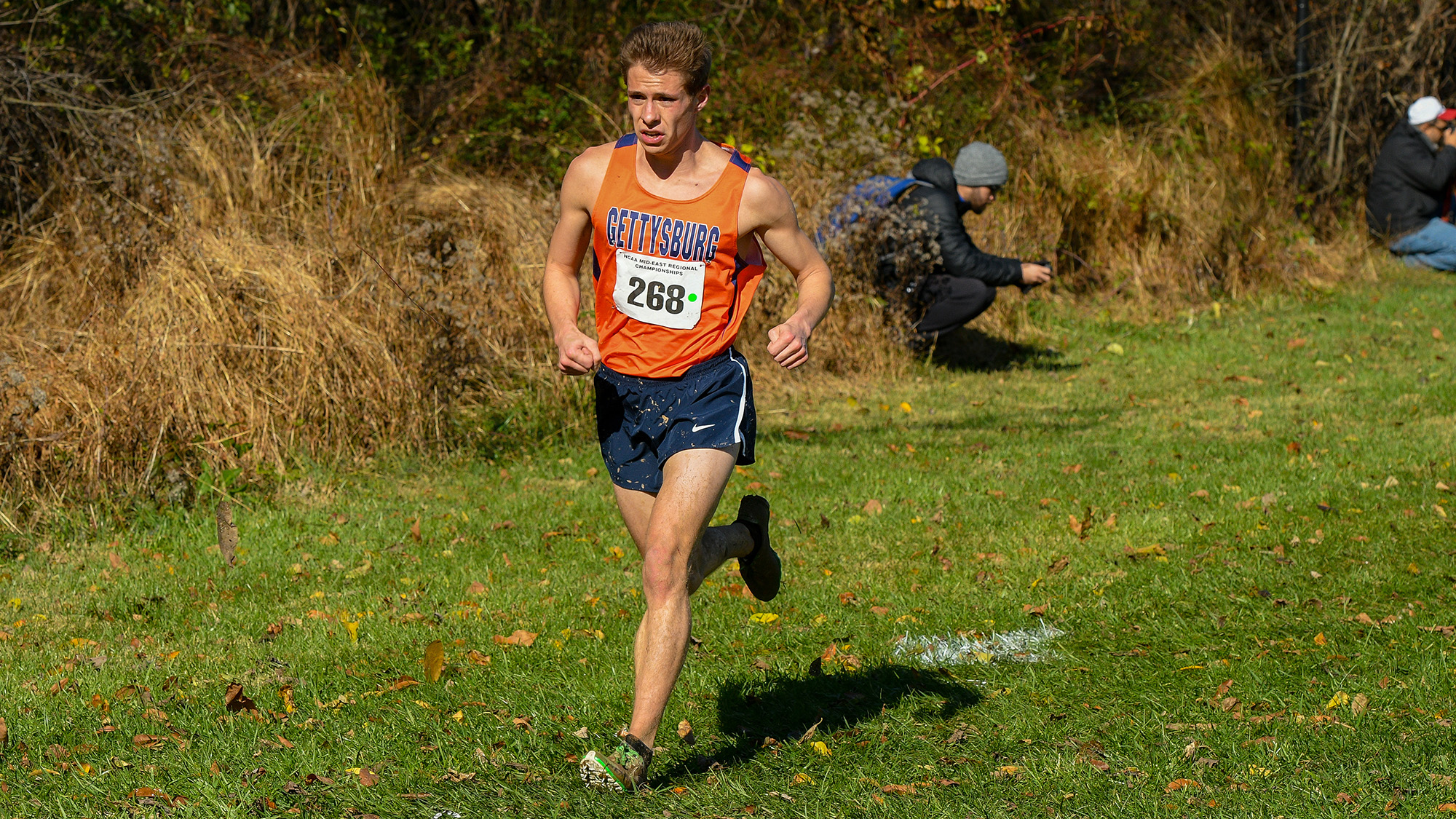 Senior Mike Miller raced to a 54th place finish (Photo courtesy of David Sinclair, Gettysburg College Athletics)
