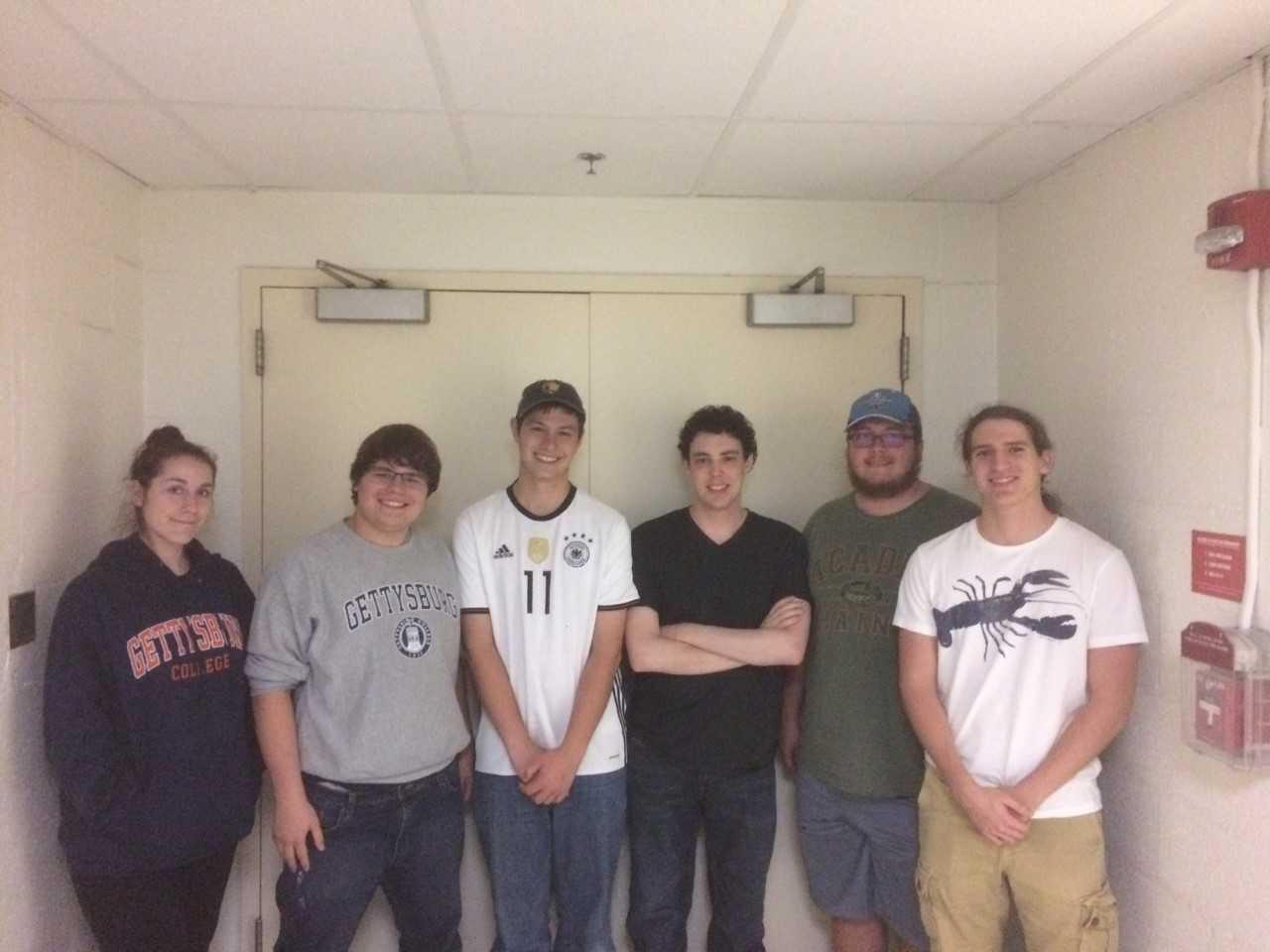 Gettysburg College's Quiz Bowl members, from left to right: Nikita Johnson '22, Eli Morton '21, Ryan Bilger '19, Danny Greenblatt '19 Austin Mowers '19 Ryzeson Maravich '22 (Photo Ryan Bilger/The Gettysburgian)