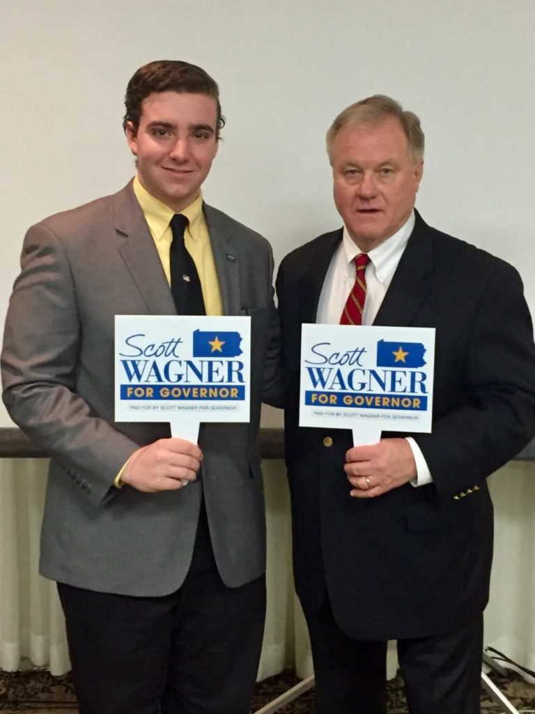 Zachary Sobeck and Gubernatorial Candidate Scott Wagner (Photo courtesy of Zachary Sobeck)