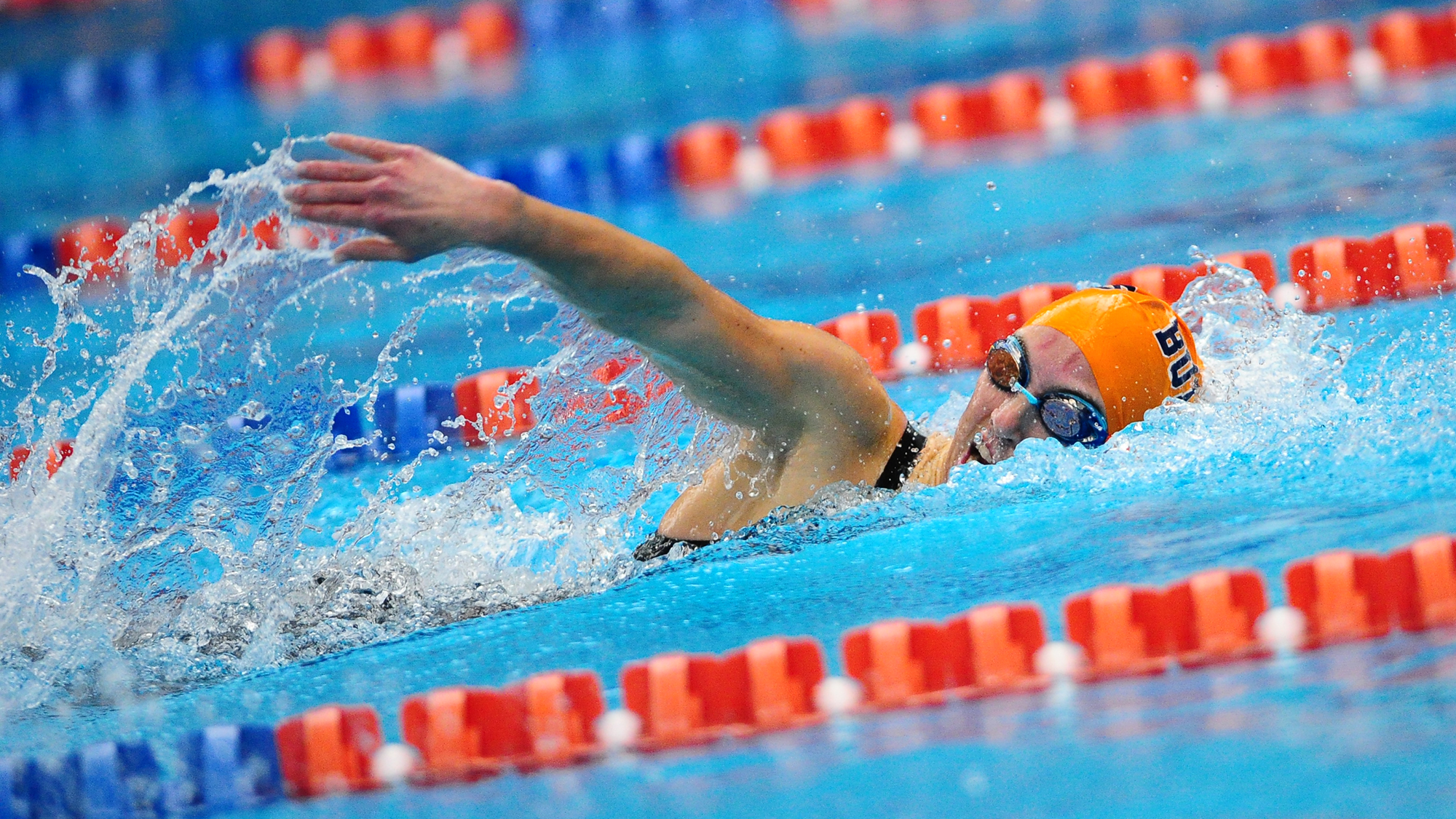 Kate Crilly '20 was part of the quartet of swimmers that beat the 800 free relay by .06 seconds (Photo courtesy of David Sinclair, Gettysburg College Athletics)