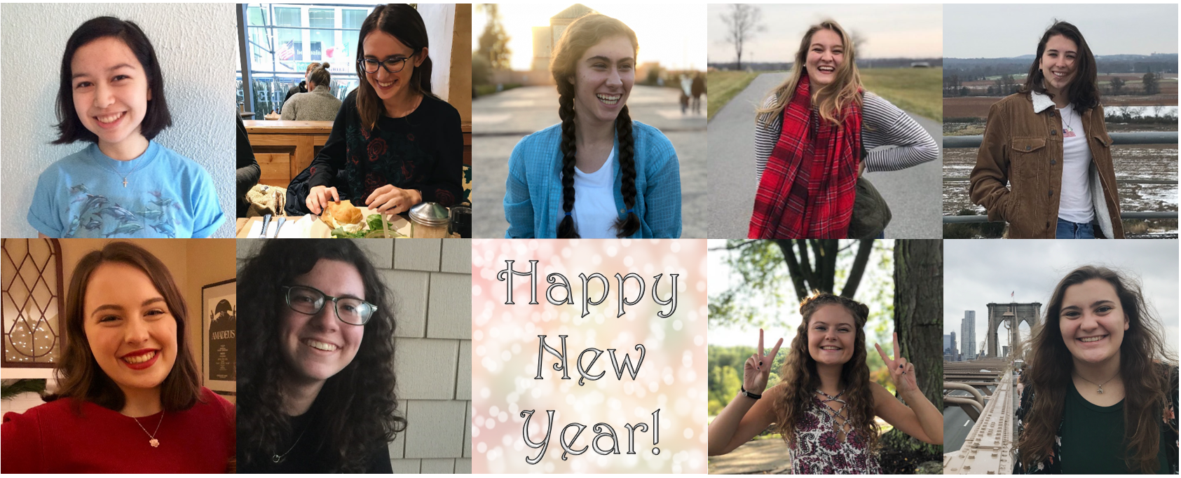 Some members of the Features staff share their resolutions for 2019. From left to right: Julia Chin, Kelsey DiPenta, Thea Toocheck, Lizzie Hobbs, Cameron D'Amica (end of top row), Phoebe Doscher, Danielle Sicotte, Sam Shourds, and Maddie Neiman (Photos courtesy of writers and compiled by Maddie Neiman/The Gettysburgian).