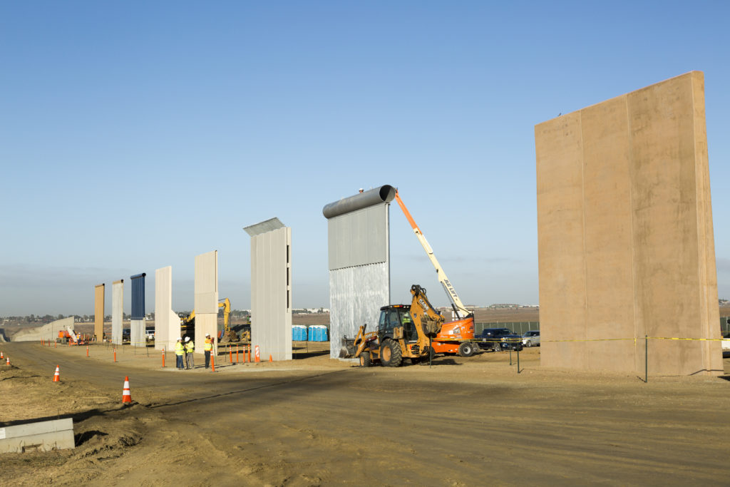 Ground views of different Border Wall Prototypes as they take shape during the Wall Prototype Construction Project near the Otay Mesa Port of Entry. (Photo courtesy of U.S. Customs and Border Protection, Mani Albrecht)