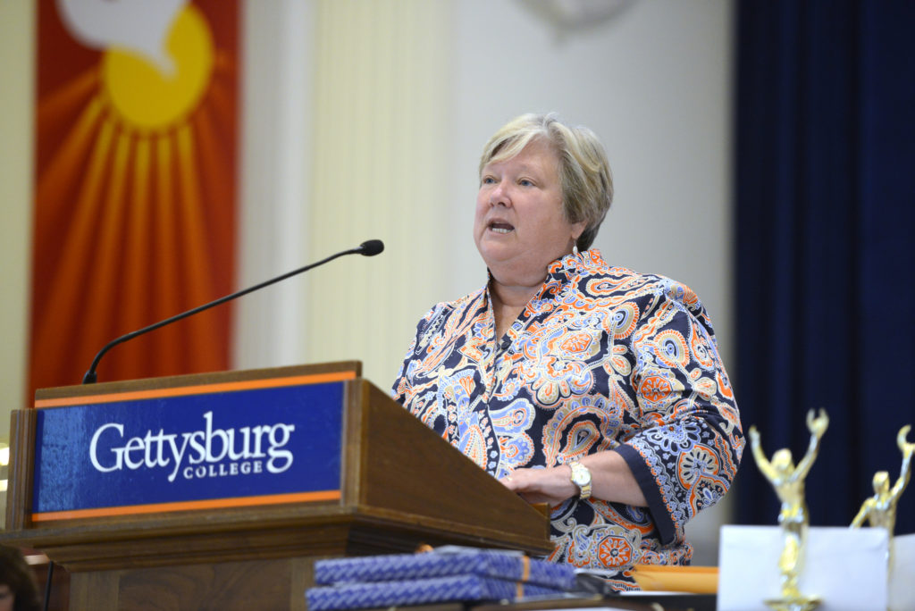 Dean of Students Julie Ramsey speaks at a college event (Photo courtesy of Gettysburg College)