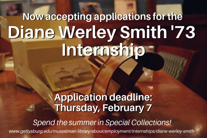 Musselman Library announces applications for summer internship opportunity working in Special Collections and College Archives (Banner courtesy of Musselman Library).
