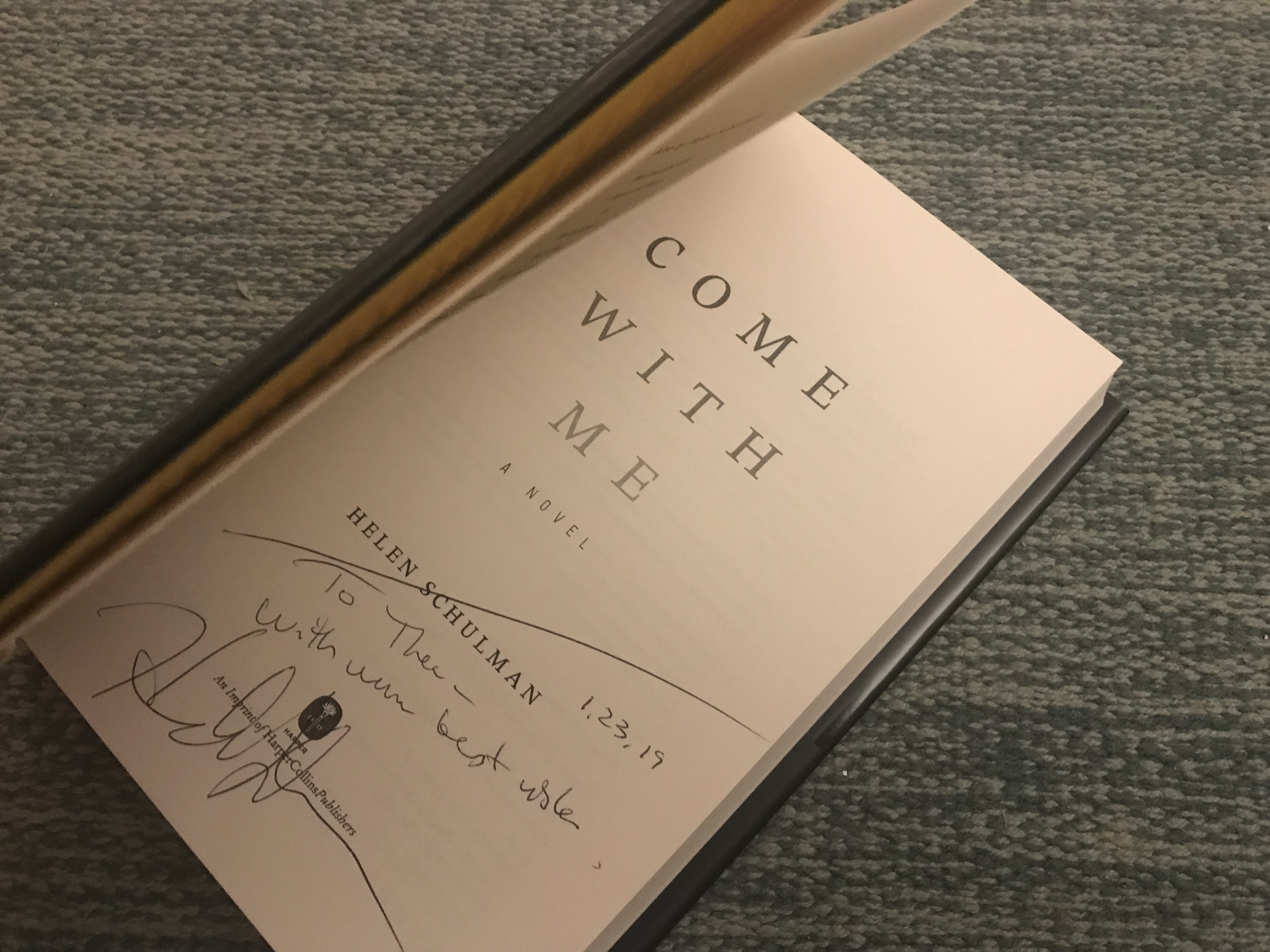 Helen Schulman, author of Come with Me, autographed a copy of her novel for Thea Toocheck '21 (Photo Thea Toocheck/The Gettysburgian).