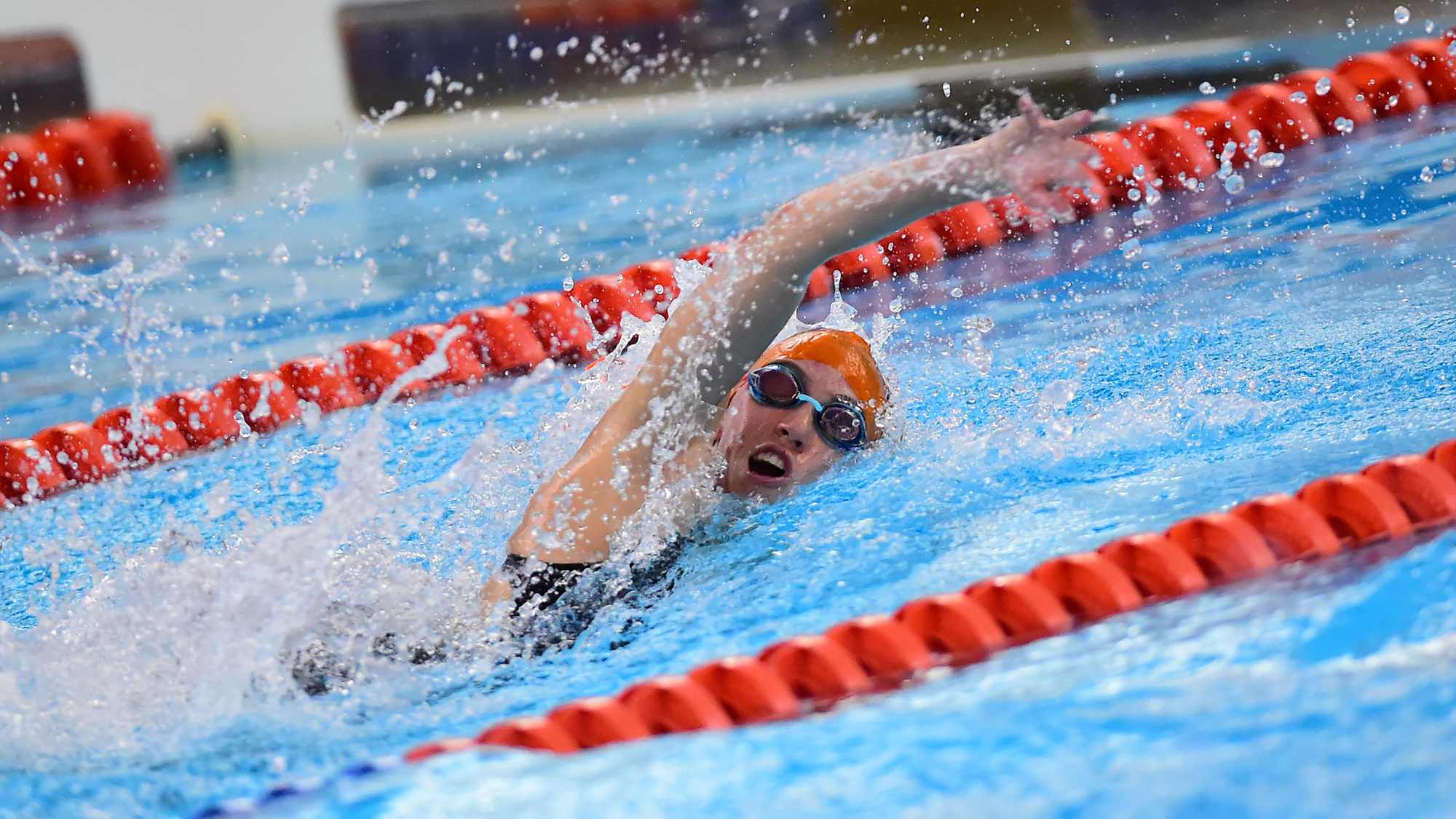 Junior Kate Crilly picked up wins in the 50 and 100 free (Photo Courtesy of David Sinclair)