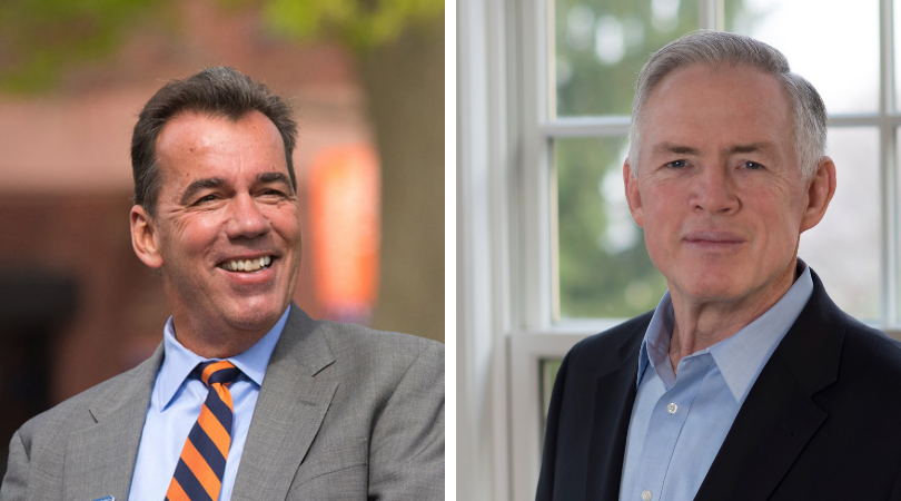 Chair of the Board of Trustees David Brennan '75 (L) and Executive Vice Chair Charlie Scott '77 (R) (Photos courtesy of Gettysburg College)