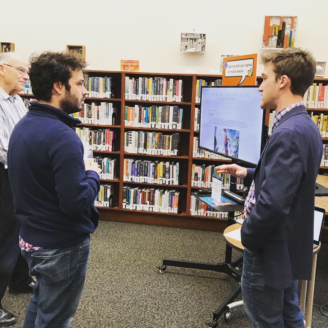 Daniel Reeves '19 presented on Digital Cultures and Online Behavior for his SOC 250 course under the Digital Literacy grant (Photo courtesy of Musselman Library)
