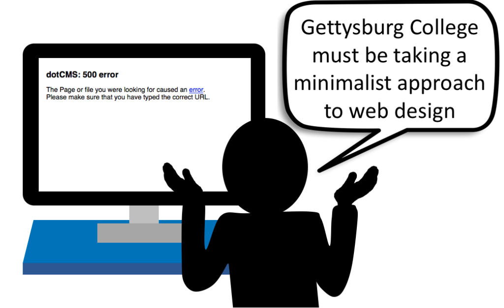 In a surprising turn of events, most links to Gettysburg College's website from Google searches lead to a charming error page.  (Cartoon courtesy of Josh Wagner)
