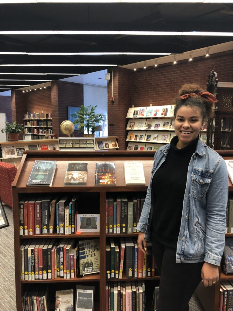 Lauren Bradford '18 is the current Barbara Holley intern at the library (Photo courtesy of Musselman Library).