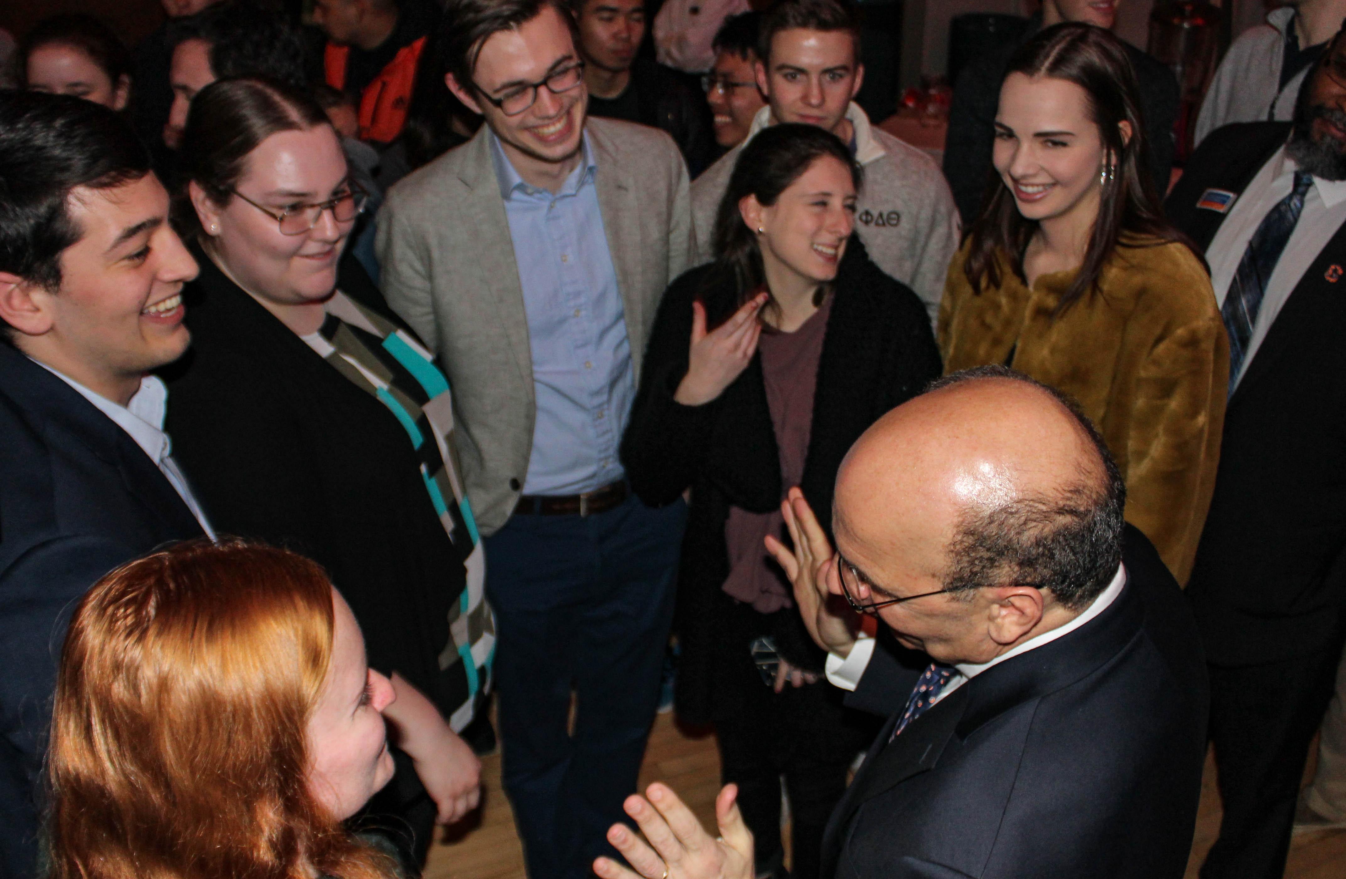 Robert Iuliano converses with members of the Student Senate Executive Board Abigail Hauer '21 (L), Nick Arbaugh '20, Grace Wenzel '21, Patrick Custer '19, Haley Gluhanich '19, and Marisa Balanda '21 (Photo Sam Hann/The Gettysburgian)