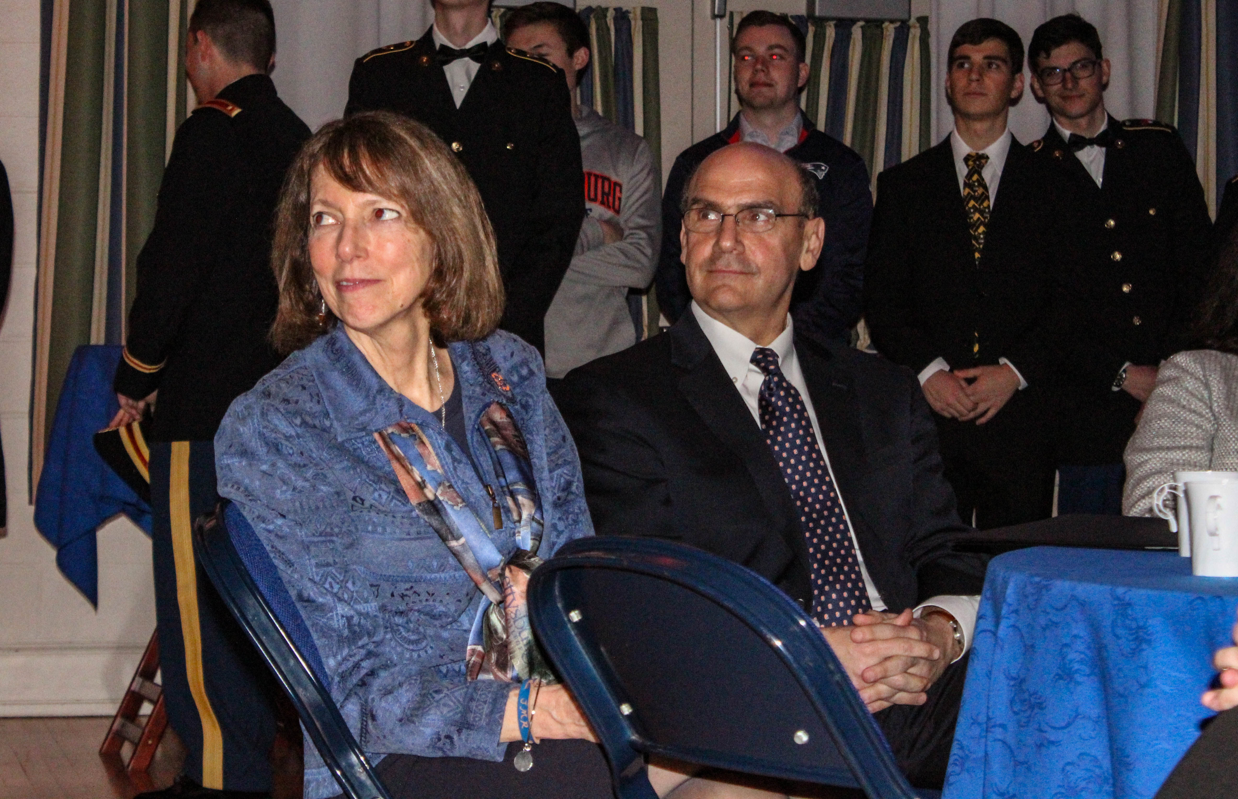 Janet Morgan Riggs and Robert Iuliano at the student welcome reception (Photo Sam Hann/The Gettysburgian)