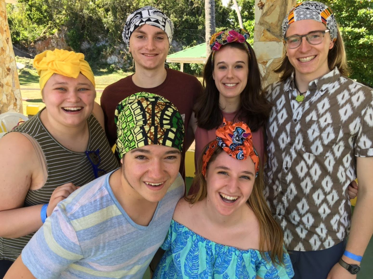 Vanessa Case '19, Brian Buechele '22, Olivia Benson '19, Zach De Besche '22, Eric Gabriel '22, and Caitie Glance '20 sport their new turbans in the style of traditional Puerto Rican headdress (Photo courtesy of Gettysburg College Choir)