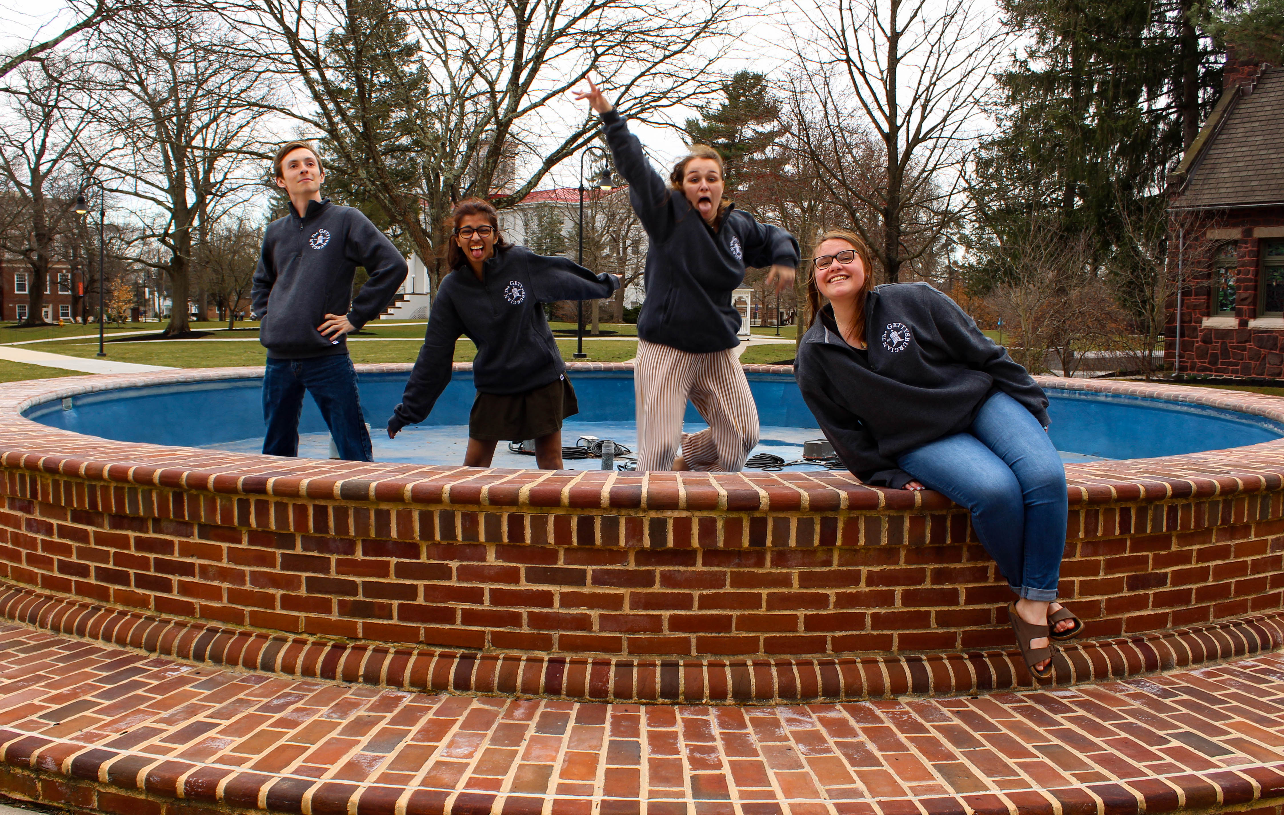 Gettysburgian Editors were found in the fountain and recieved points for their wrongdoing (Photo Mary Frasier/The Gettysburgian).
