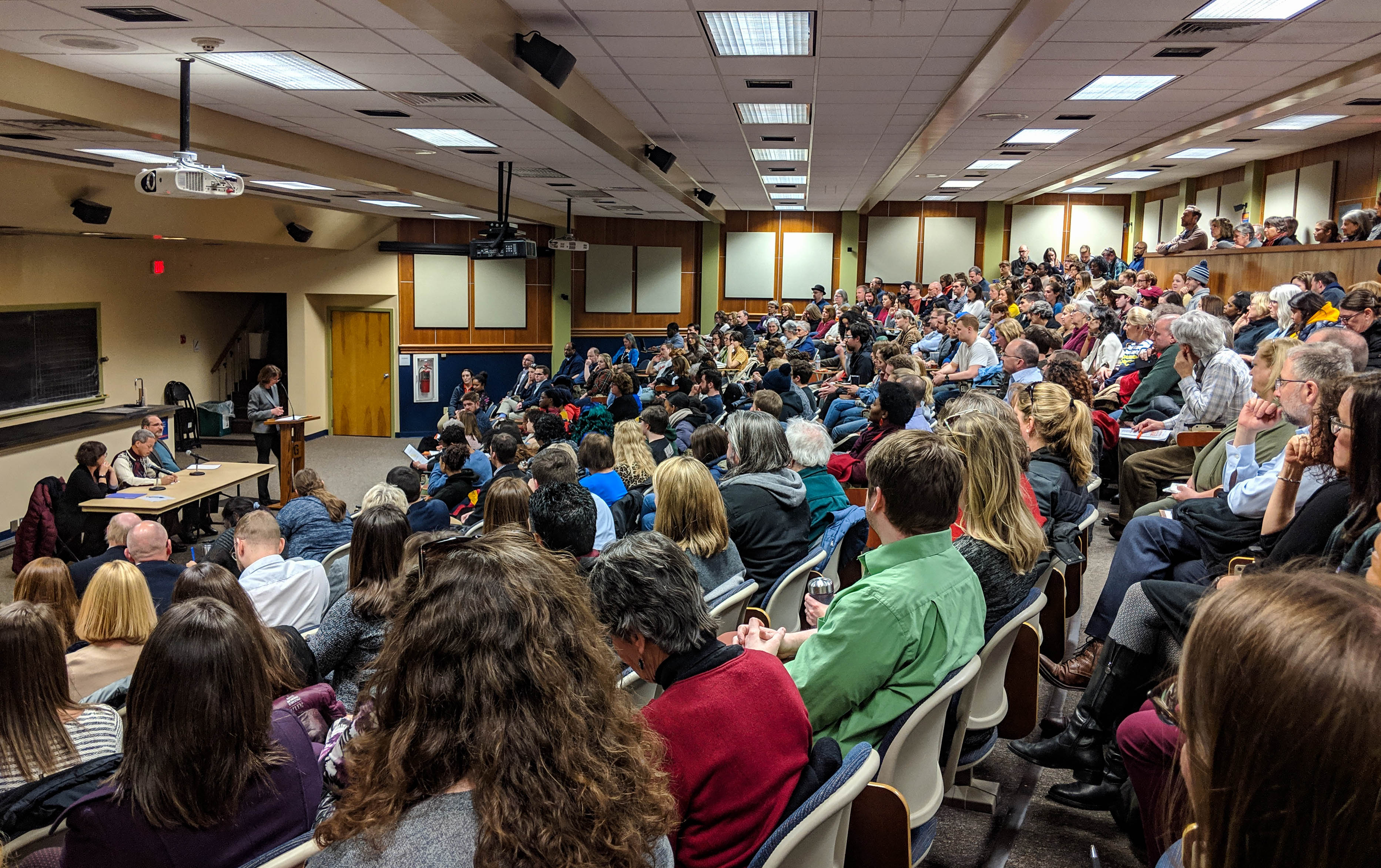 Students, faculty, and administration gathered in Mara Auditorium to discuss the recent yearbook photo of Bob Garthwait (Photo Mary Frasier/The Gettysburgian)