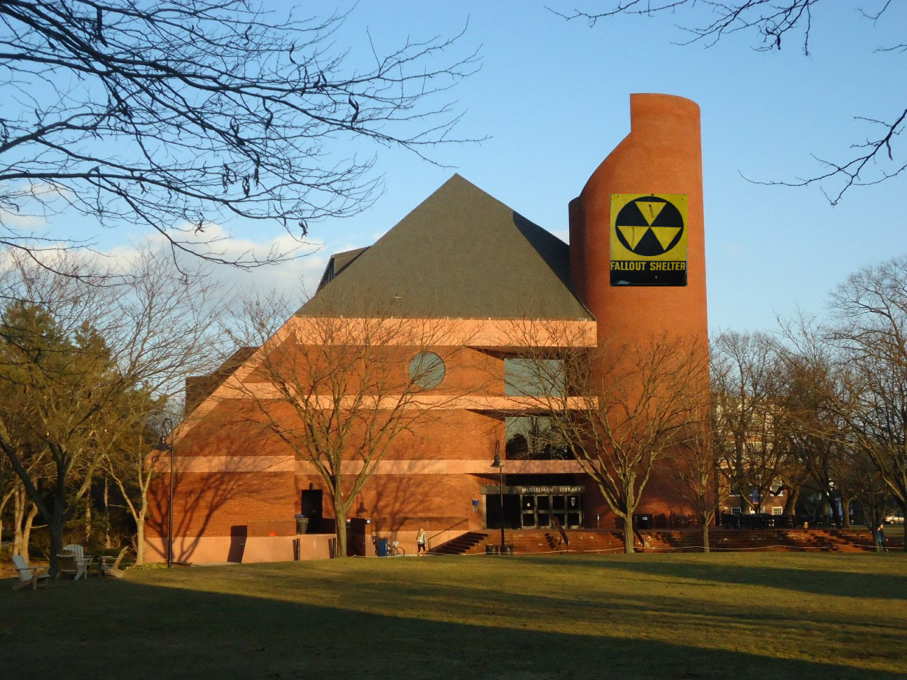 Musselman Library now brandishes a nuclear fallout sign. (Photo Courtesy of Wikimedia Commons and Flickr).