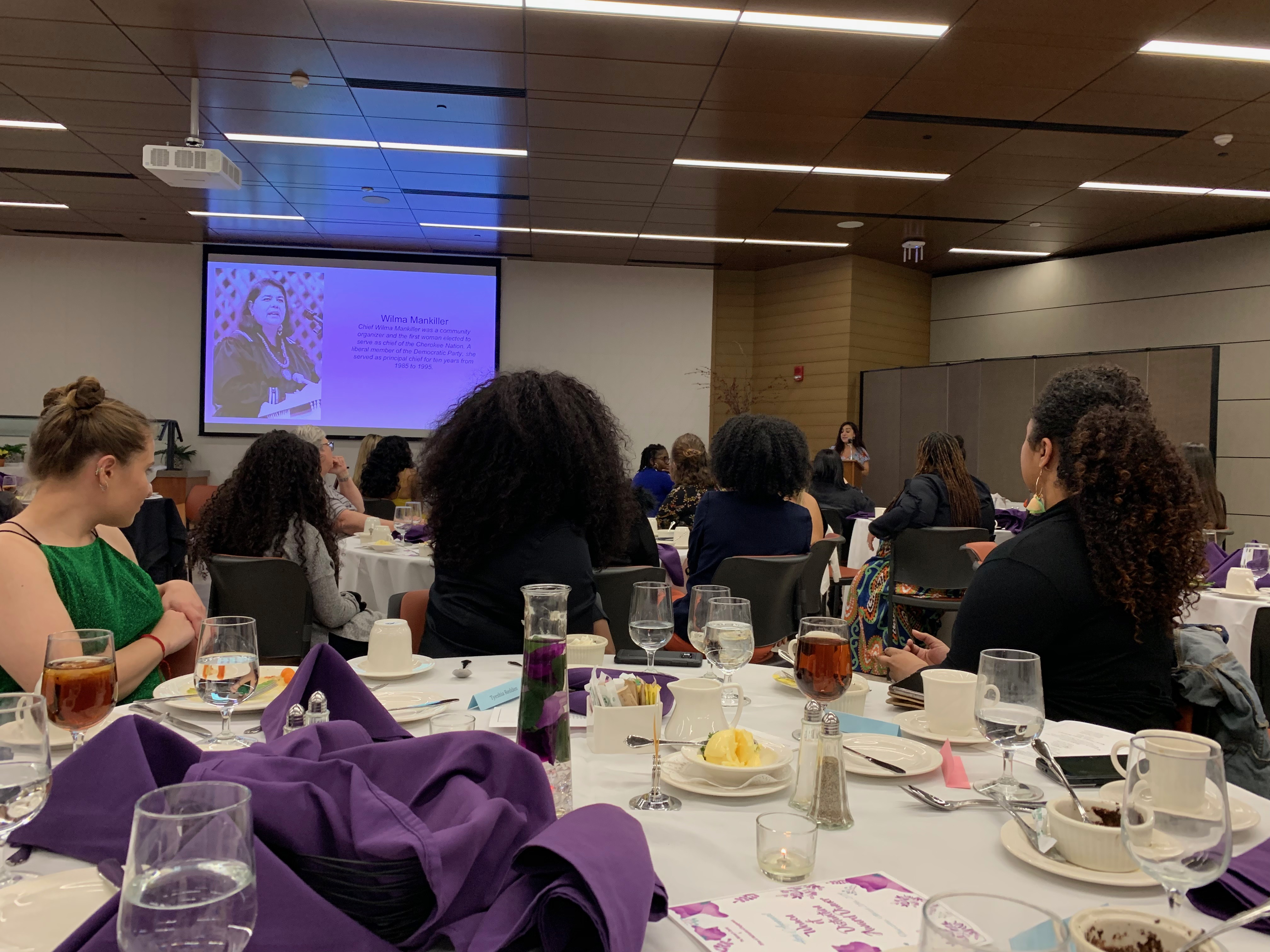 Wilma Mankiller was one of the inspiring women featured on the slideshow at the Women of Distinction Dinner (Photo Maddie Neiman/The Gettysburgian).
