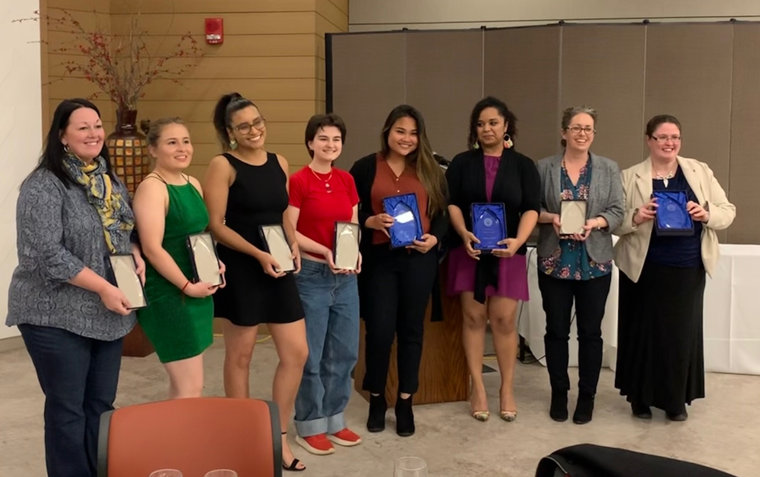 The winners of the Women of Distinction Awards for the evening posed with their plaques (Photo Maddie Neiman/The Gettysburgian).
