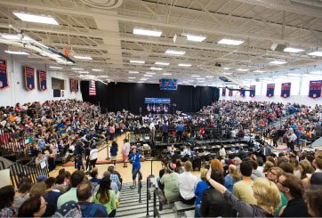 Sanders's speech was well-attended by students and faculty alike (Photo courtesy of Gettysburg College).