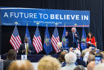 Sanders spoke on American politics and seemed to forget that he was in Gettysburg for the second time (Photo courtesy of Gettysburg College).